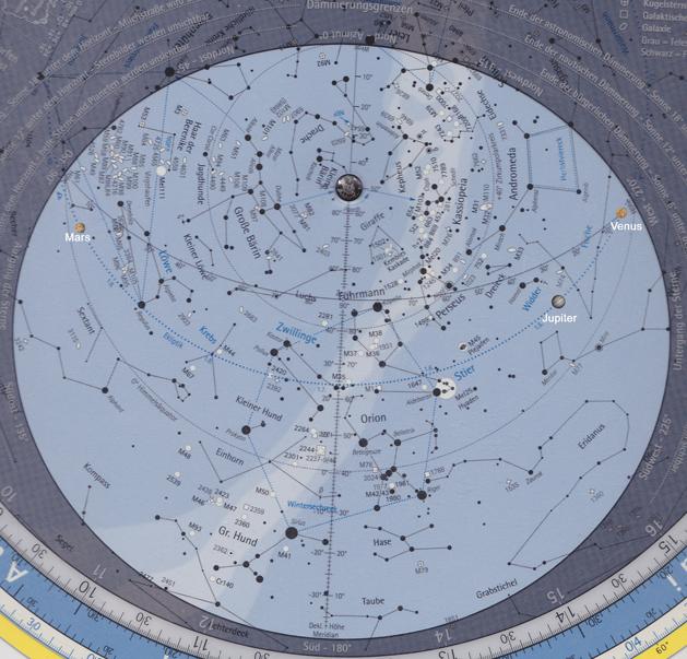 Der Anblick des Sternhimmels am 15. Februar 2012 um 21 Uhr.